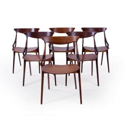 Set of 6 Dining Chairs by Arne Hovmand Olsen for Mogens Kold, 1950s