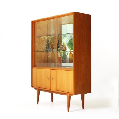 Cherrywood Cabinet with Mirrored Back, 1950s
