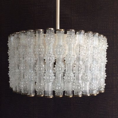 Primal Ice Texture 38 Crystal Glass Drum Chandelier by Kaiser Leuchten