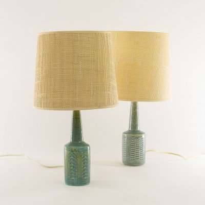 Two blue table lamps DL/21 by Annelise & Per Linnemann-Schmidt for Palshus