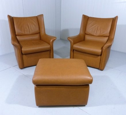 Set of 2 Italian Leather Lounge Chairs & Footstool, 1960's