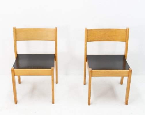 3 Italian oak plywood dining chairs, 1970s