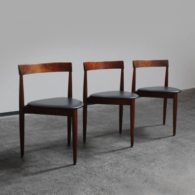 3 tripod dining chairs by Hans Olson for Frem Rojle, Denmark 1962