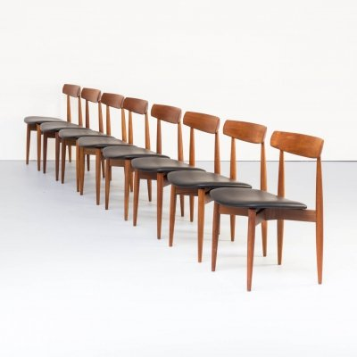 Set of 8 Henry W. Klein teak dining chairs for Bramin, 1960s