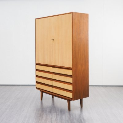 Midcentury Tall Highboard In Walnut And Ashwood, 1950s