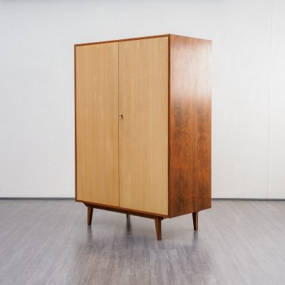 Vintage Midcentury Wardrobe In Walnut And Ashwood, 1950s