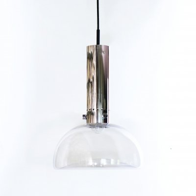 Glass & metal Hanging lamp by Glashütte Limburg, Germany 1960s