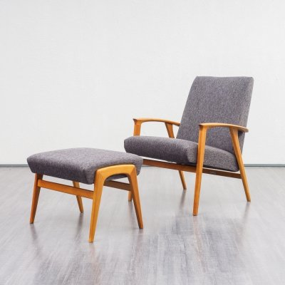 Vintage Midcentury Danish Design Easy Chair With Footstool, 1960s