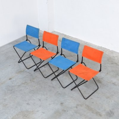 Colorful set of 4 Mid-Century Modern Garden Chairs