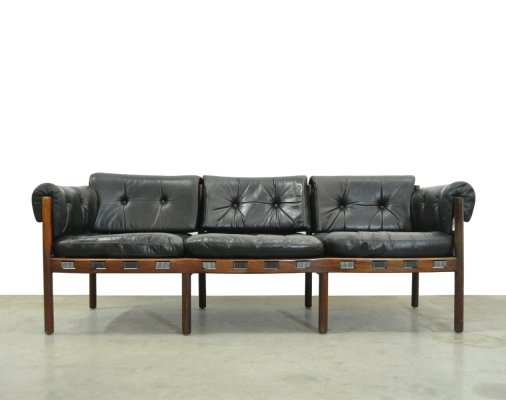 Vintage black leather 3-seater sofa by Coja, 1960s