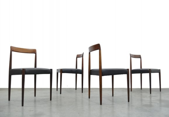Set of 4 vintage rosewood dining chairs + stool by Lübke, Germany 1960s