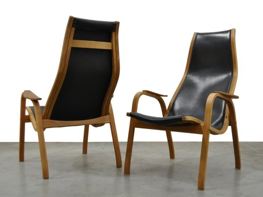 Pair of vintage Kurva Lamino lounge chairs by Yngve Ekström for Swedese, 1960s
