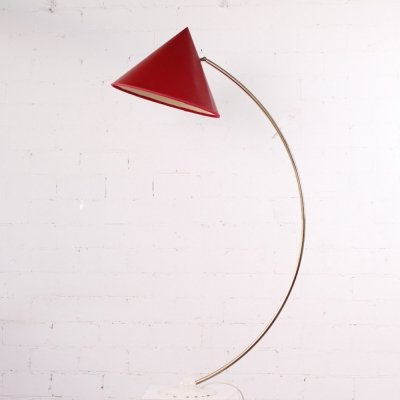 Exceptionel 50s Brass Floor Lamp with red Shade