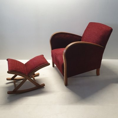 Art deco armchair with ottoman, 1930s