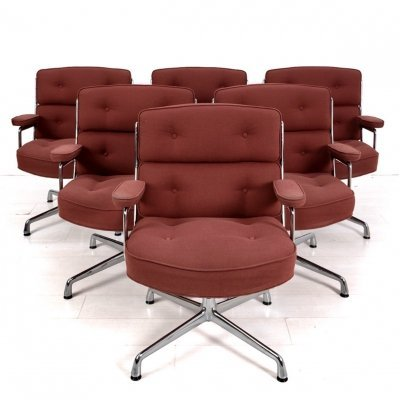 Set of 6 turnable Eames Lobby chairs, 1960s