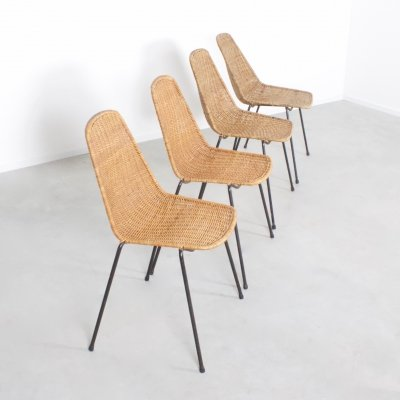 Set of Four Basket Chairs by Gian Franco Legler, Switzerland 1950s