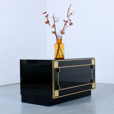 Small glossy black cabinet by Pierre Cardin, 1970s