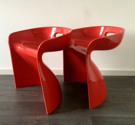 Pair of vintage Winifred Staeb Top Sit Chairs in Red, 1969