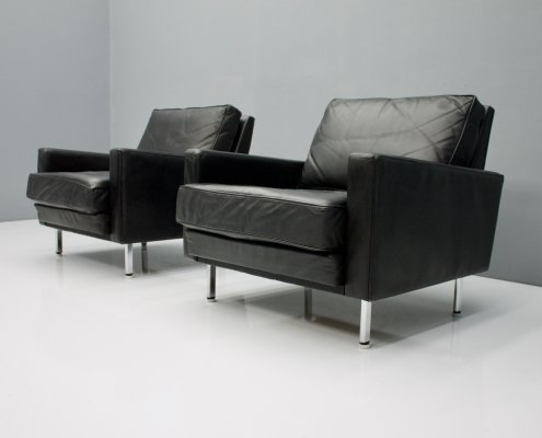 Pair of Black Leather Lounge Chairs, 1962