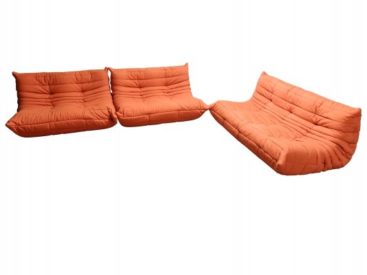Modular 3-Piece Orange 'Togo' Sofa by Michel Ducaroy for Ligne Roset