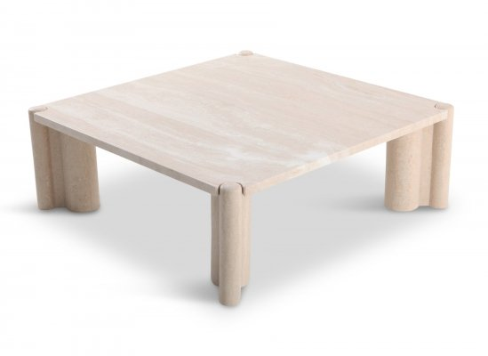 Gae Aulenti Jumbo Travertine Square Coffee Table, 1965