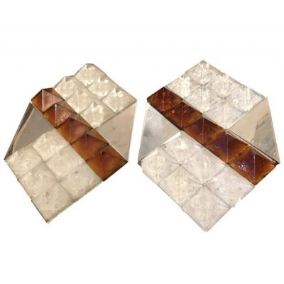 Two Huge Mid-Century Modern White & Brown Murano Glass Wall Sconces by AV Mazzega, circa 1970