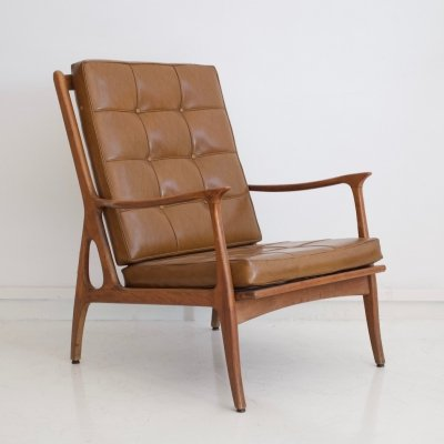 Italian Brown Leather Lounge Chair