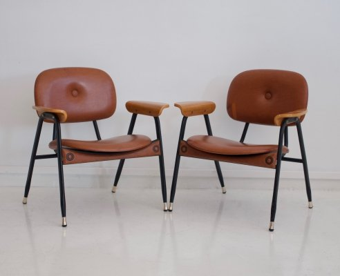 Pair of Italian leather & metal chairs, 1960s