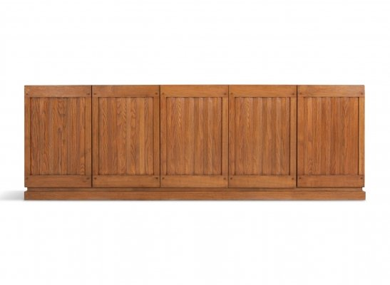 Brutalist Natural Oak Credenza With Geometric Door Panels, 1970s