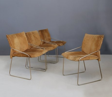 Set of 4 Willy Rizzo chairs in Brass & Chamois Beige, 1970s