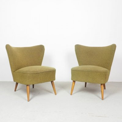 Set of 2 green cocktail chairs, 1950's