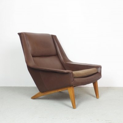 Vintage leather lounge chair by Folke Ohlsson for Fritz Hansen, 1960's