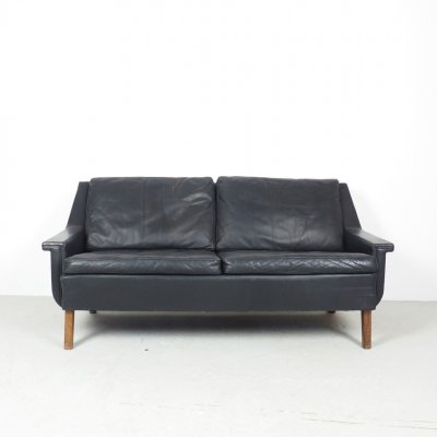 Vintage Danish design black leather 2 seater sofa, 1960's