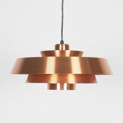 Copper Nova hanging lamp by Jo Hammerborg for Fog & Morup, 1960s