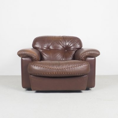 Vintage Italian leather design lounge chair from Vavassori, 1970's