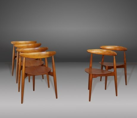 Set of six FH4103 chairs in teak by Hans Jørgensen Wegner for Fritz Hansen, 1950