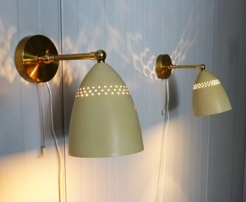 Pair of wall Lamps with Brass details & Perforated Steel Shades, 1950's