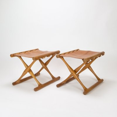 Pair of PH43 Guldhøj Stools in Oak & Cognac Leather by Poul Hundevad for Vamdrup, 1960s