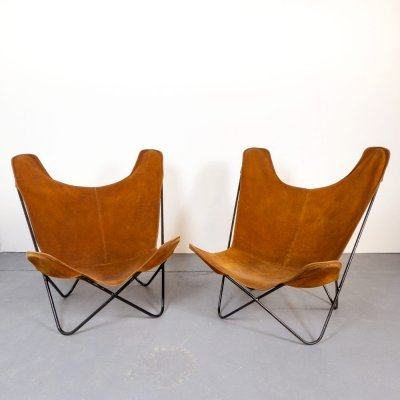 Pair of BKF Butterfly Chairs in Tobacco Suede, 1960s