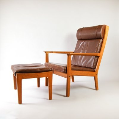 Hans Wegner GE265 Leather High Back chair & Ottoman