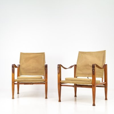 Pair of Kaare Klint Canvas Safari Chairs, Denmark 1950s