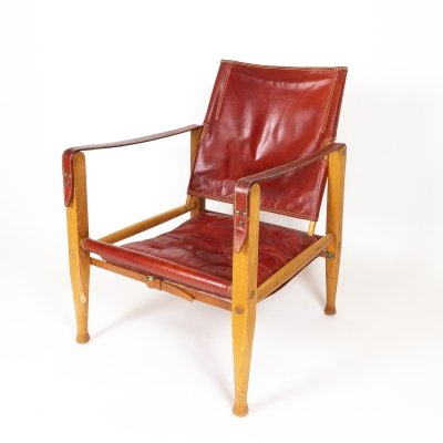 Kaare Klint Safari Chair in Red Leather by Rud Rasmussen, Denmark 1960s