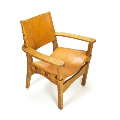 Scandinavian Leather & Oak Hunter Style Chair, 1960s
