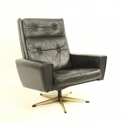 Danish leather swivel chair, 1960s