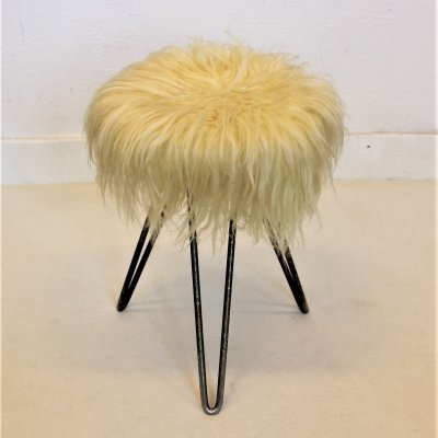 Goathair stool with hairpin legs, 1950s