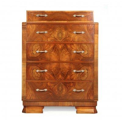Art Deco Walnut Chest of Drawers, c1930