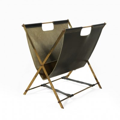 Magazine rack in leather & brass by Jacques Adnet, c1950
