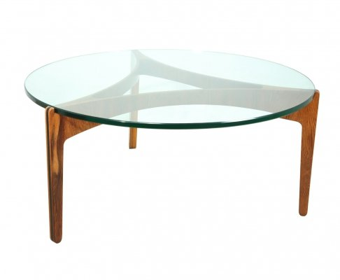 Mid Century Danish Rosewood & Glass Circular Coffee Table by Sven Ellekaer, 1960s