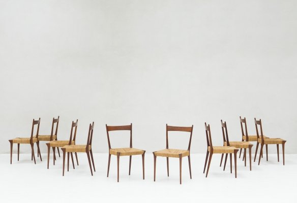 10 dining chairs by Alfred Hendrickx, Belgium 1950's