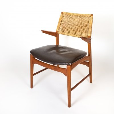 Teak, Leather & Cane Model 48 Armchair by E. Knudsen for Jensen & Lykkegaard